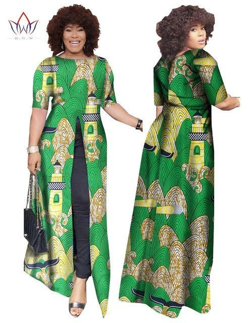 African Dashiki African Dresses Casual Straight Split Printing African Print Cotton Clothing Chemise Africaine Femme BRW WY852