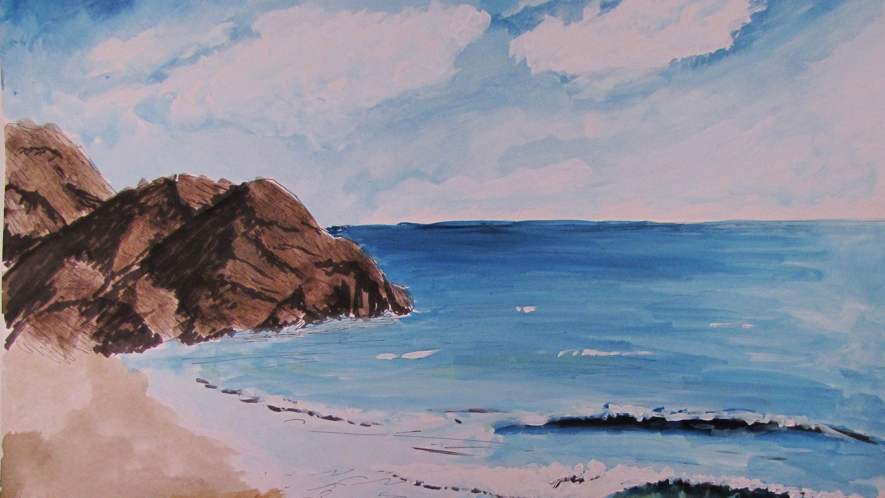 How to paint a realistic watercolor beach scene beach