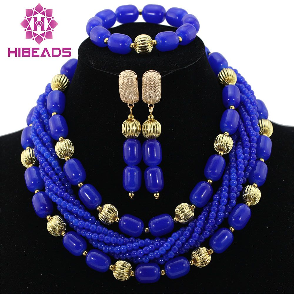Artificial Coral African Beads Jewelry Set Royal Blue Nigerian ...