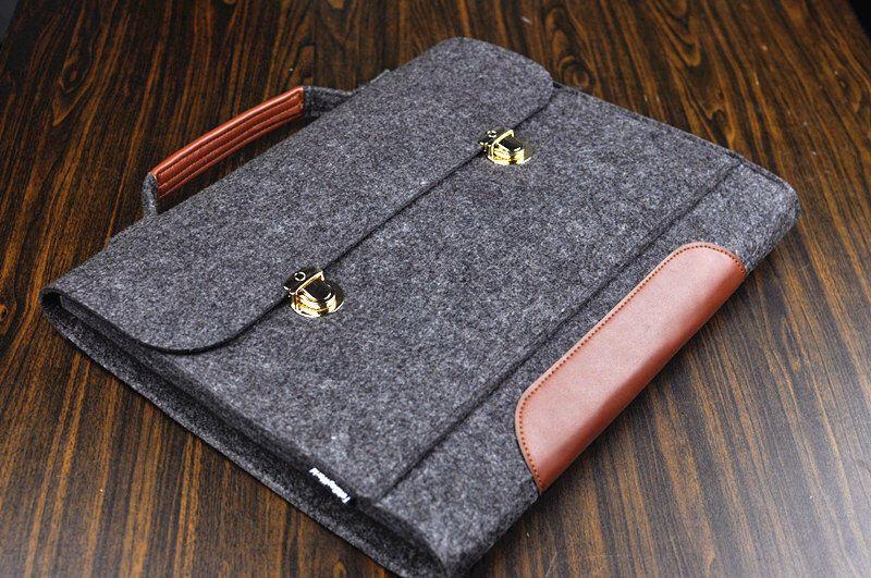 Felt laptop sleeve , Mens leather Briefcase , Macbook Pro