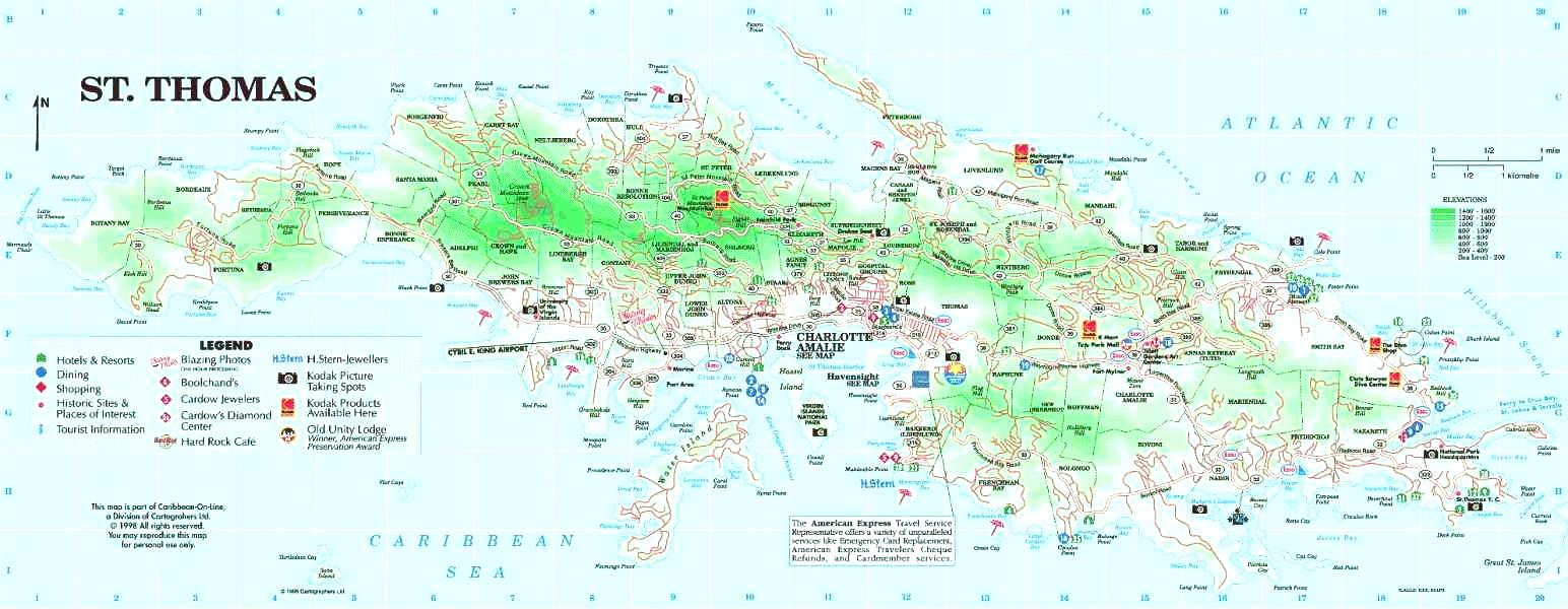 Download St Thomas Island Map Simple Saint Caribbean Also ...
