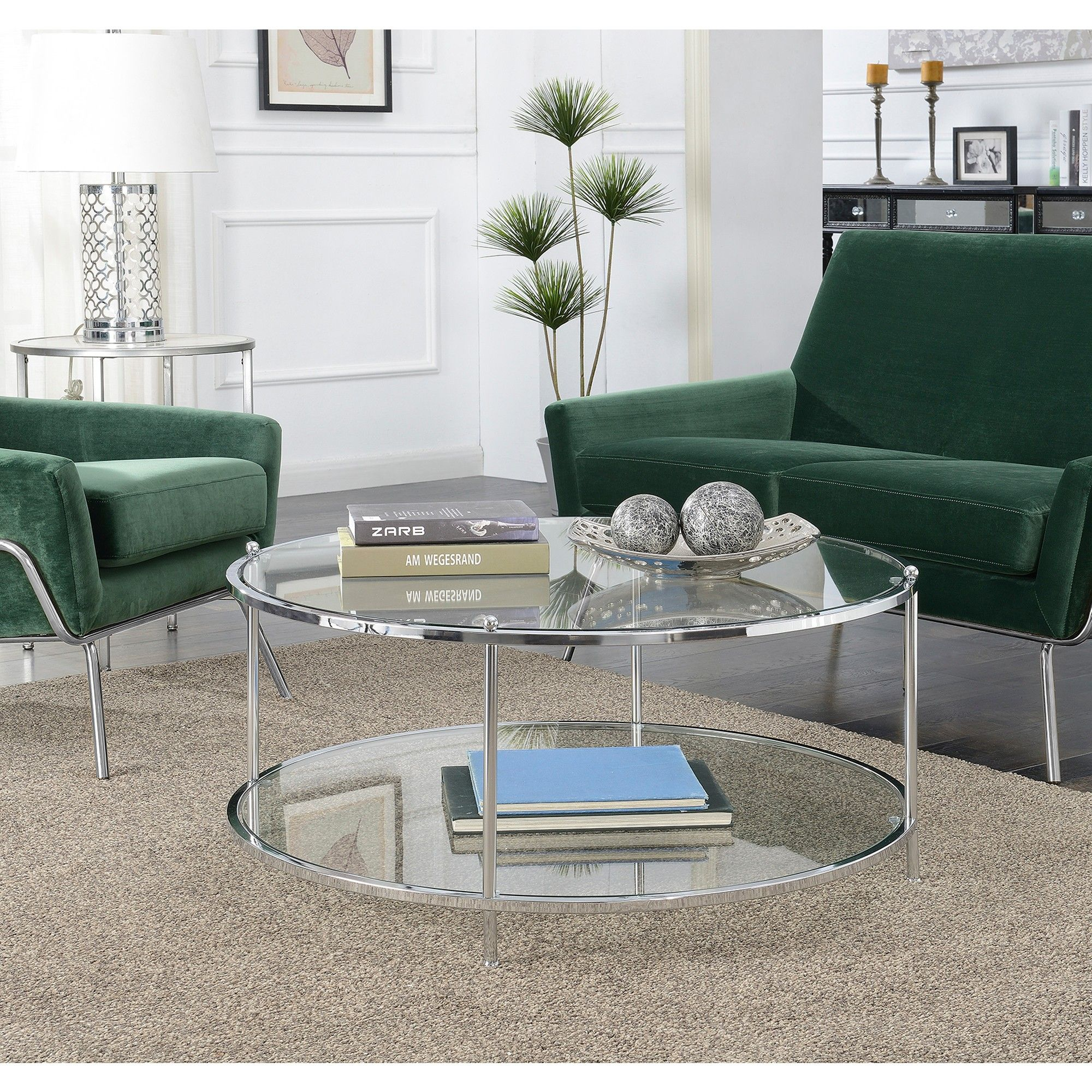 Royal Crest 2 Tier Round Glass Coffee Table Glass Chrome Johar