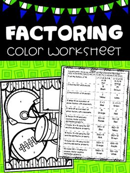 Factoring Football Color Worksheet | TPT 3-5 Math | Pinterest