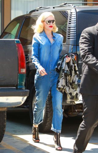 Denim-on-Denim: Gwen Stefani 2015  Note to everyone: wear bold red lip while sporting slouchy denim jumpsuit.
