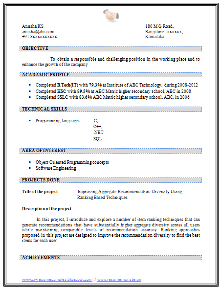 sample template  latest resume sample of a b tech in it