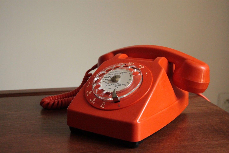 Vintage Ancien T L Phone Cadran Socotel S63 En Plastique Orange  # Meuble Ancienne Servant