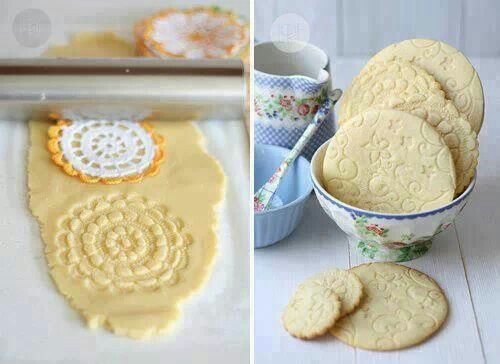 Doilie or lace rolled onto sugar cookies