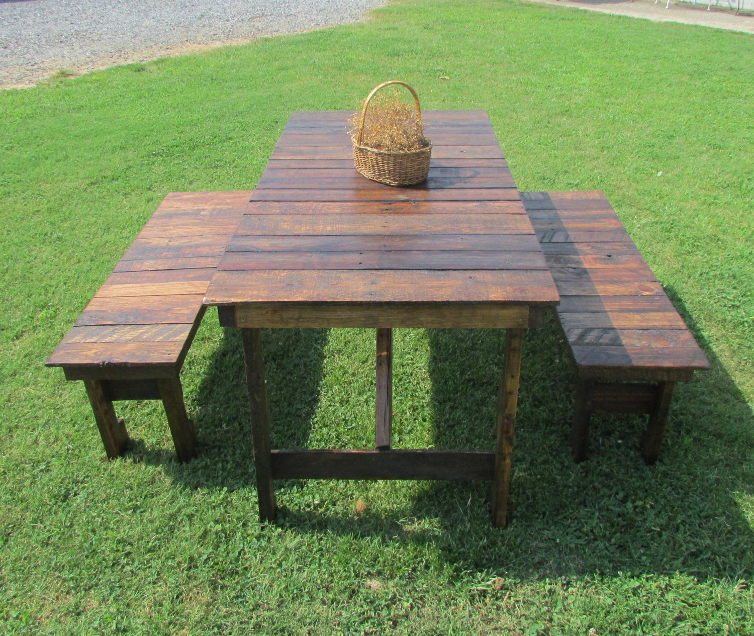 rustic wooden outdoor furniture. This Is A Handmade Rustic Picnic Table And 2-bench Set That Made Out Of Reclaimed Wood (mixture White Oak, Red Hickory, Poplar And/or Ash). Wooden Outdoor Furniture K