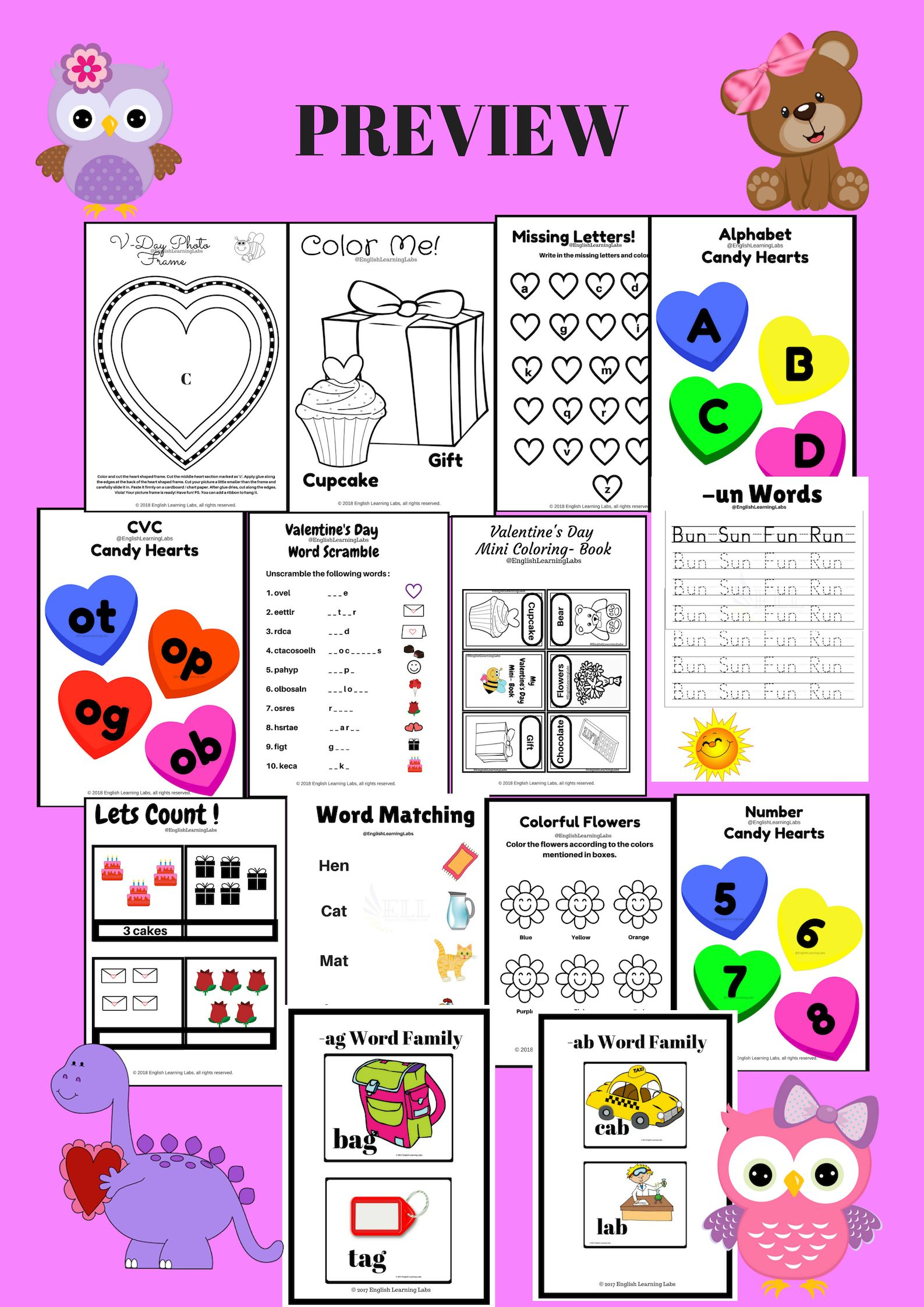 Kindergarten Grade 1 Ela Candy Hearts Jar Valentine S Day Resource