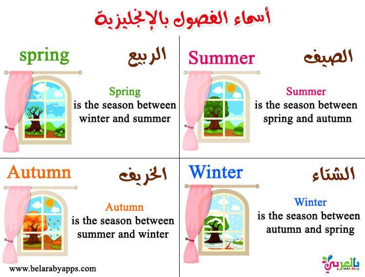 الفصول الاربعة للاطفال بالانجليزي بطاقات تعليمية فصول السنة بالعربي نتعلم Arabic Lessons Summer Lesson