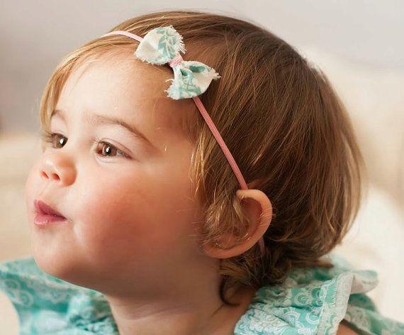 Aqua Pink Baby Headband Baby Bow Newborn Headband Vintage Shabby ... 1d844484c3e
