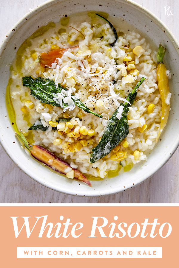 White Risotto with Corn, Carrots and Kale images