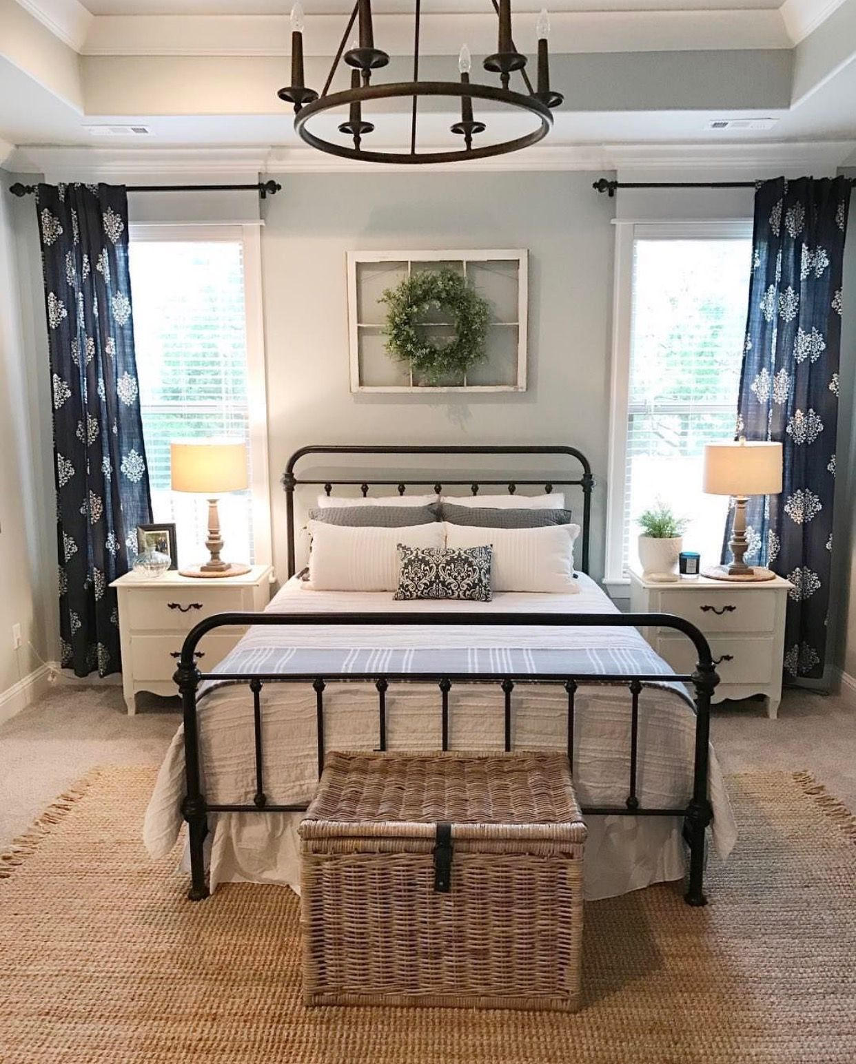 Curtain Layout For Windows Flanking Bed Modern Farmhouse