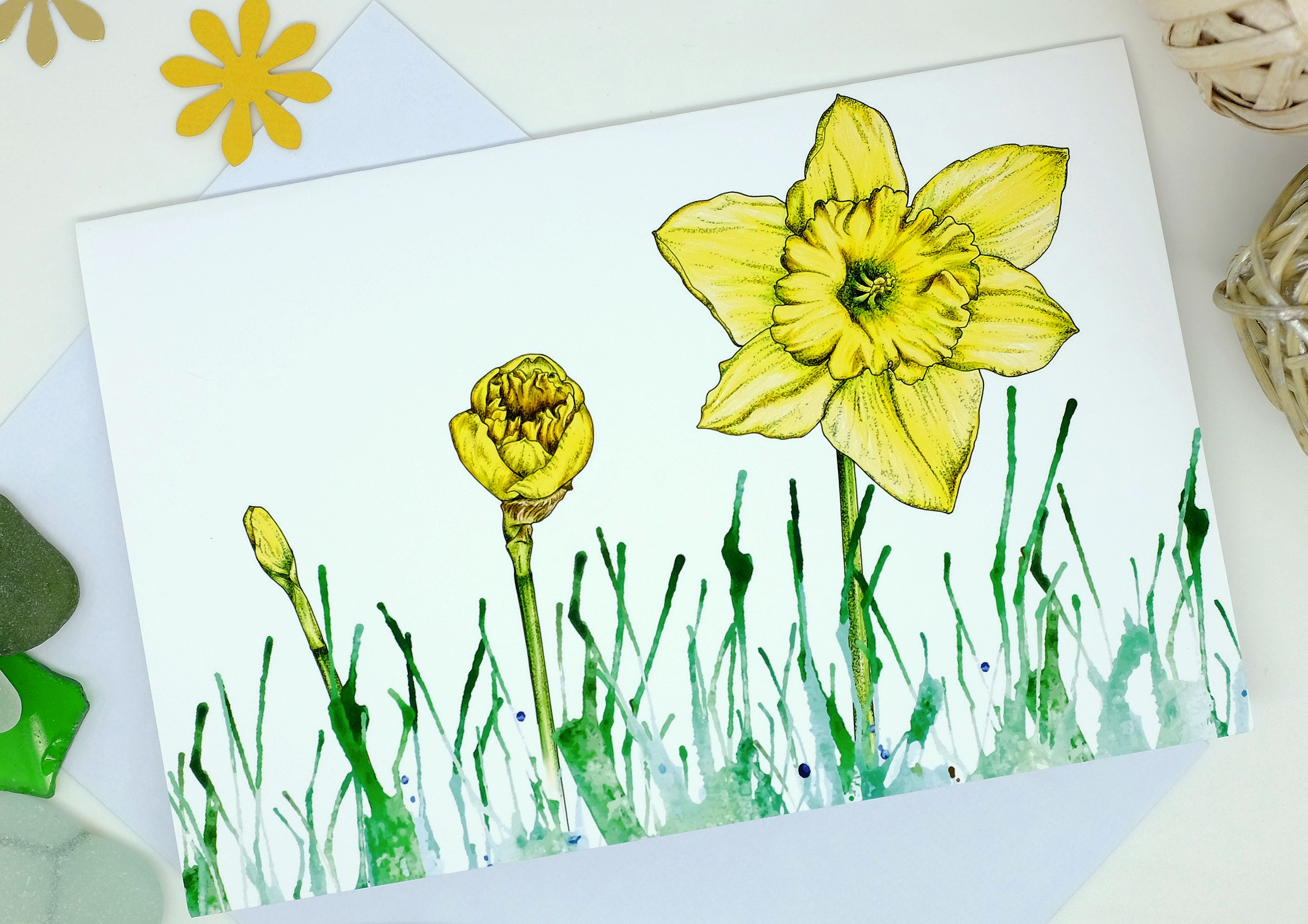 Daffodil Card Yellow Flowers March Birthday Greetings Cards