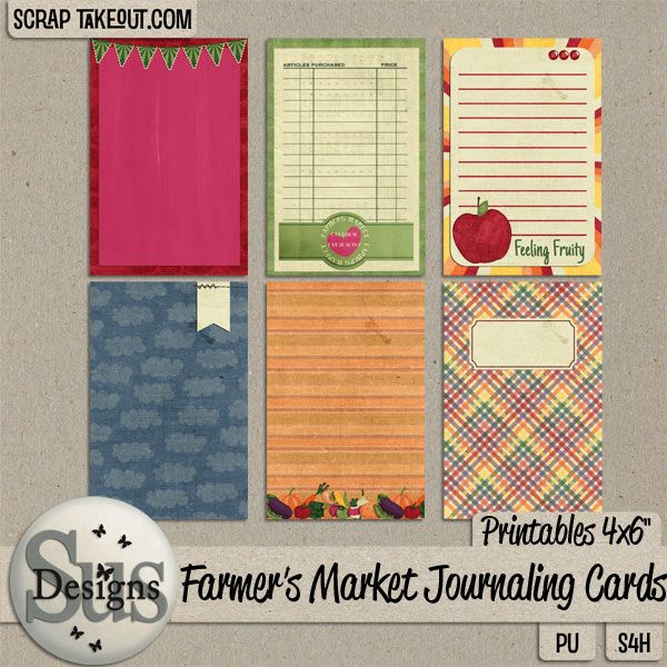 Farmers market Journaling cards