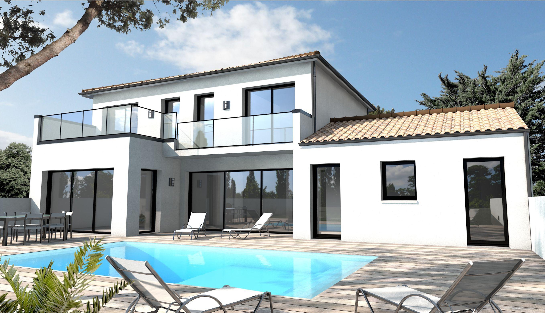 Cette maison morbihannaise avec toiture monopente dispose l 39 tage d 39 un balcon et de grandes for Maison contemporaine vendee
