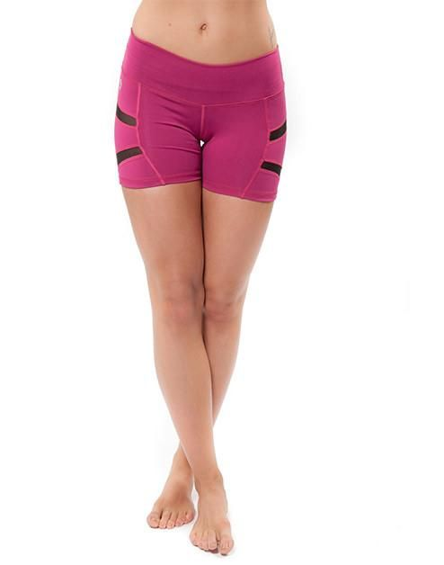 f9054a69e7e3d Bottoms. by INNA Trend. High-rise thick waistband shorts. Magenta black mesh  spanning across the thighs. Matches
