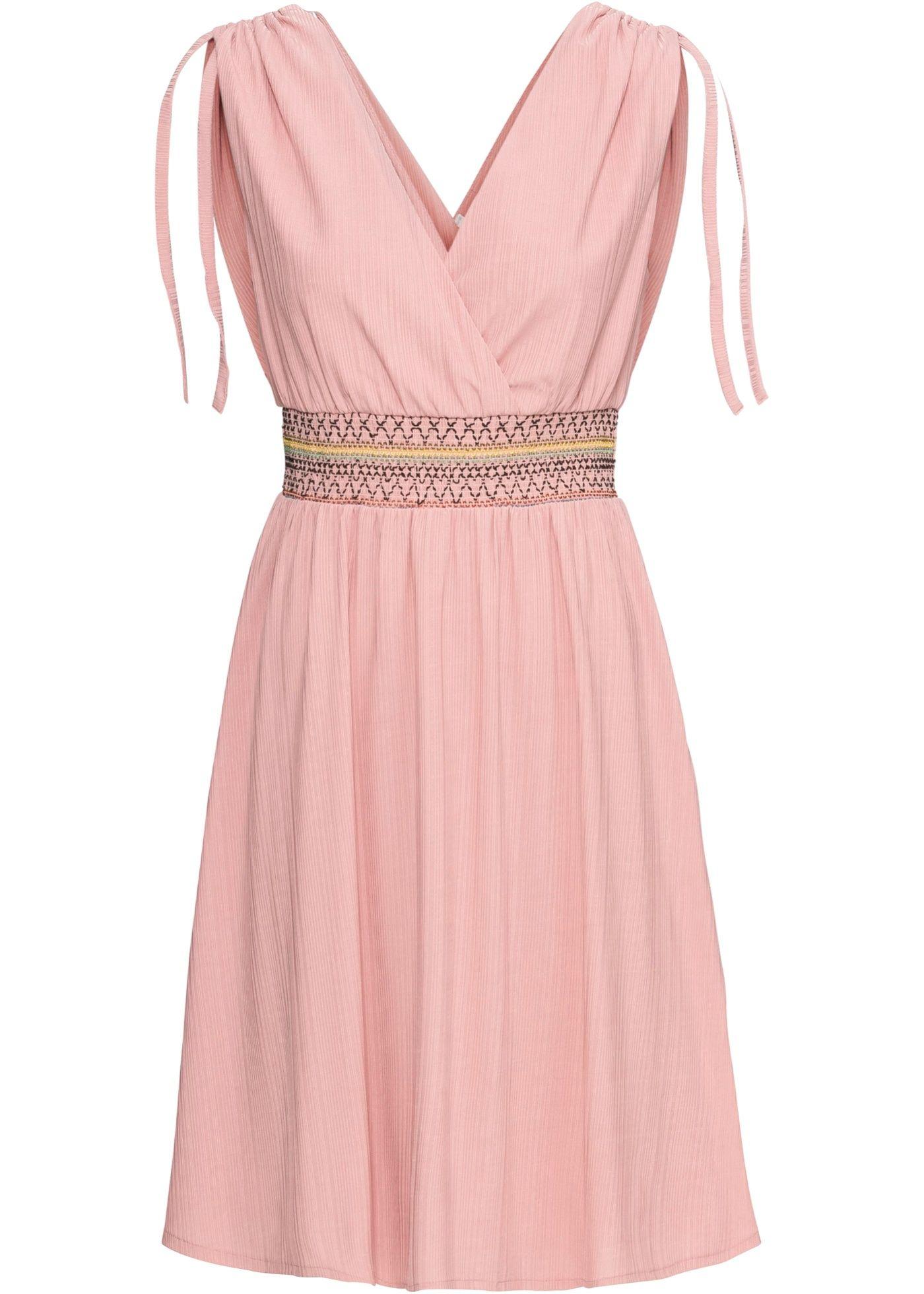 Zauberhaftes Kleid mit Raffung und auffälligem Einsatz - rosa in