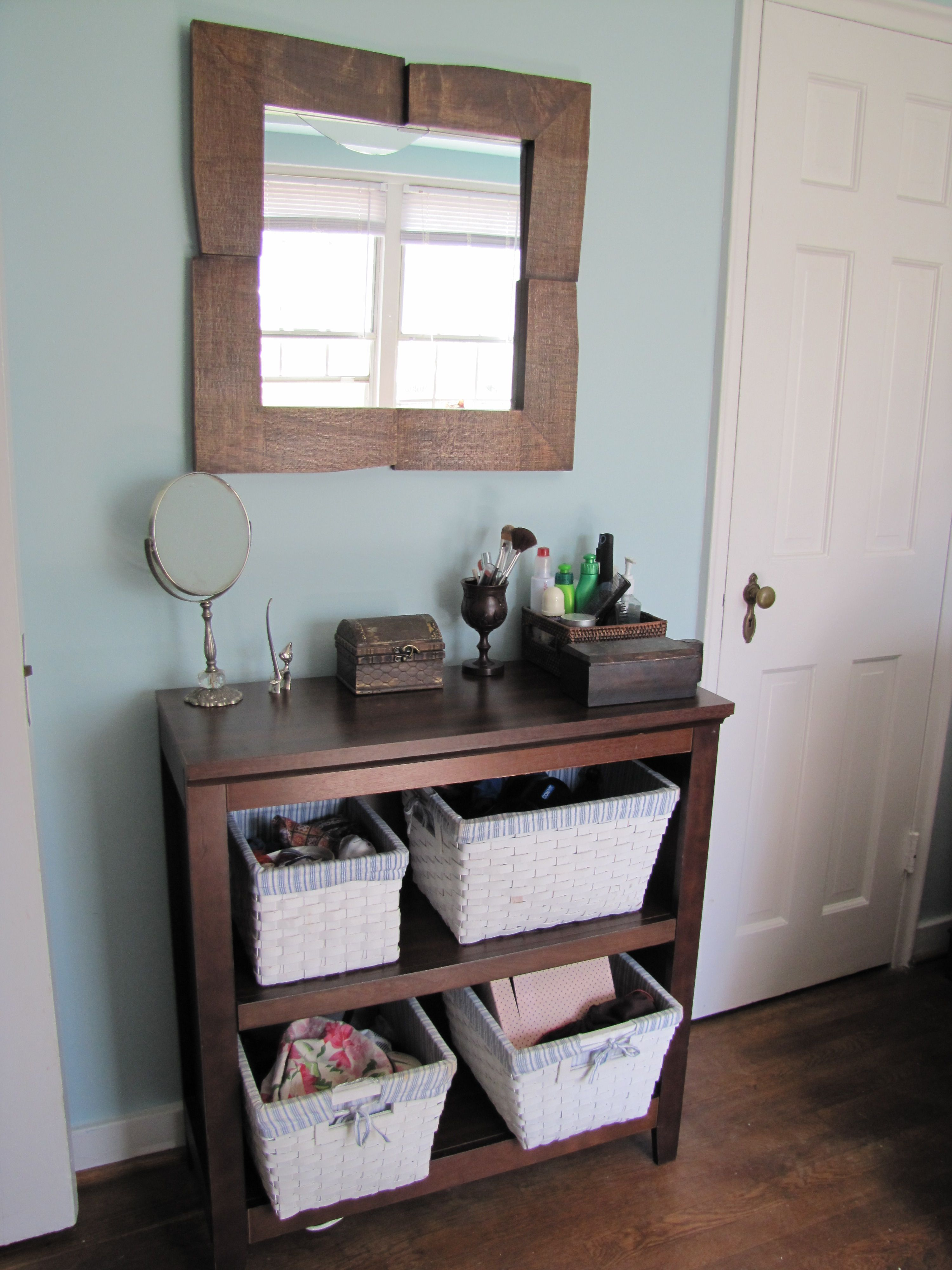 Beautification Station For Those Of Us With Tiny Bathrooms COULD DO BASKETS IN THE BUILT INS Why Didnt I Think This Earlier