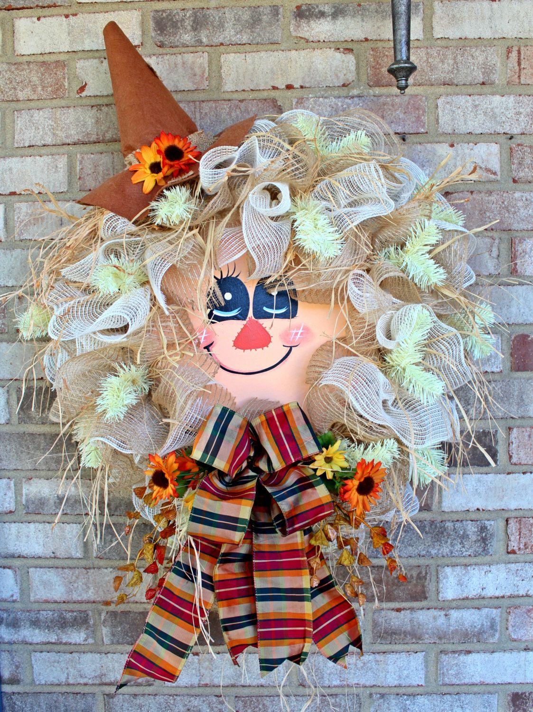 Burlap Fall Scarecrow Wreath, Fall Wreath, Door Wreath, Halloween Wreath, Autumn Wreath, Welcome Wreath by TheWhimzeeDoor on Etsy