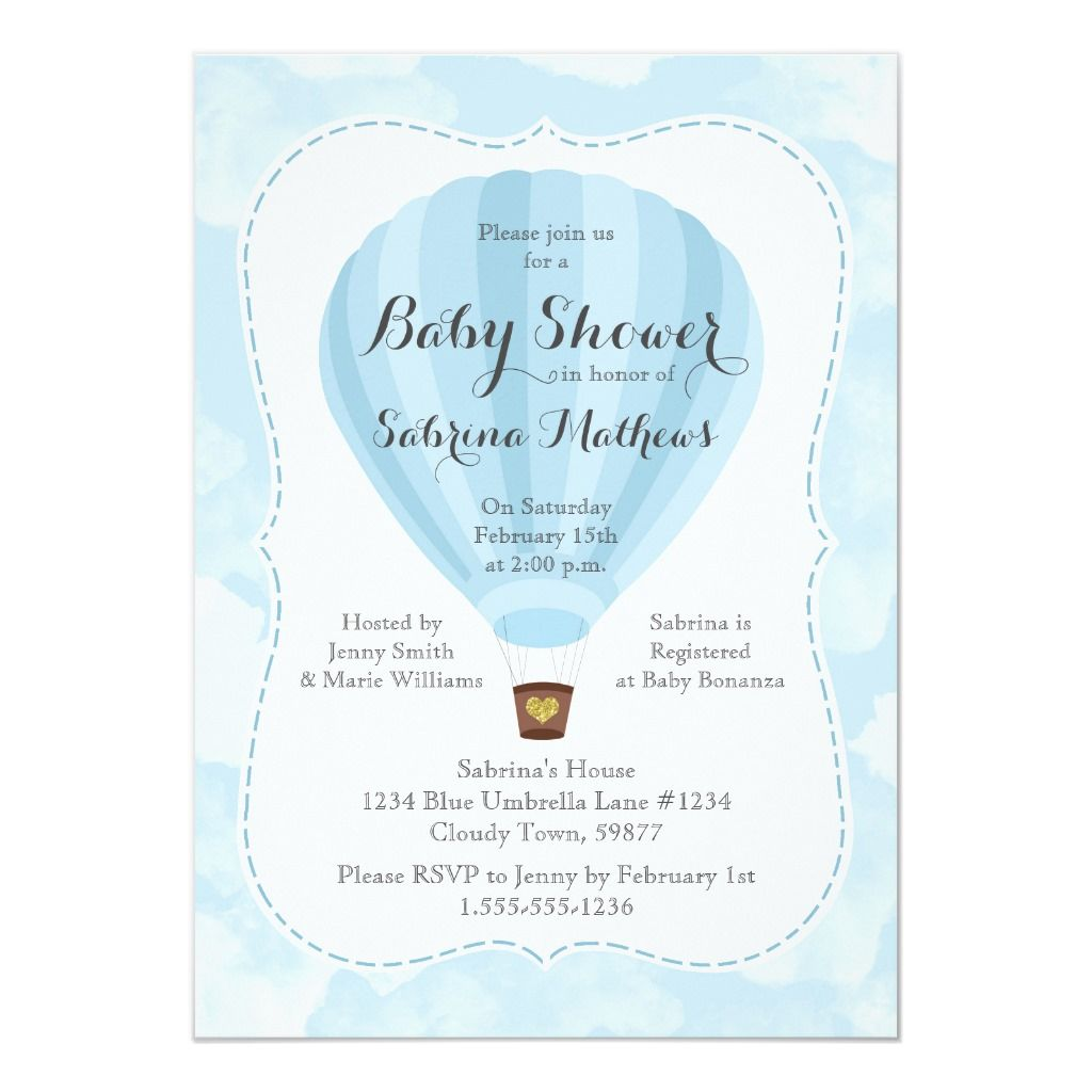 Blue Hot Air Balloon Boy Baby Shower Invitation | Zazzle.com