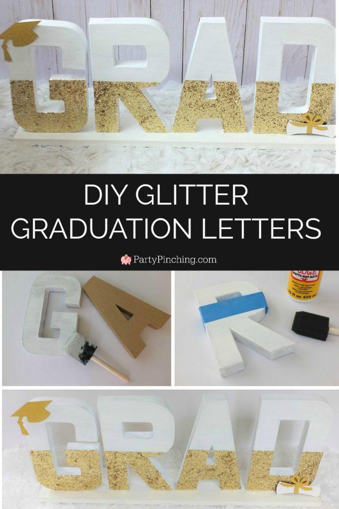DIY glitter paint paper mache letters cardboard graduation centerpiece, gold gla…
