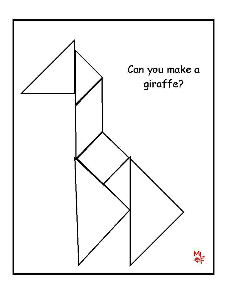 Giraffe Tangram Printable Maths Pinterest Kindergarten Math