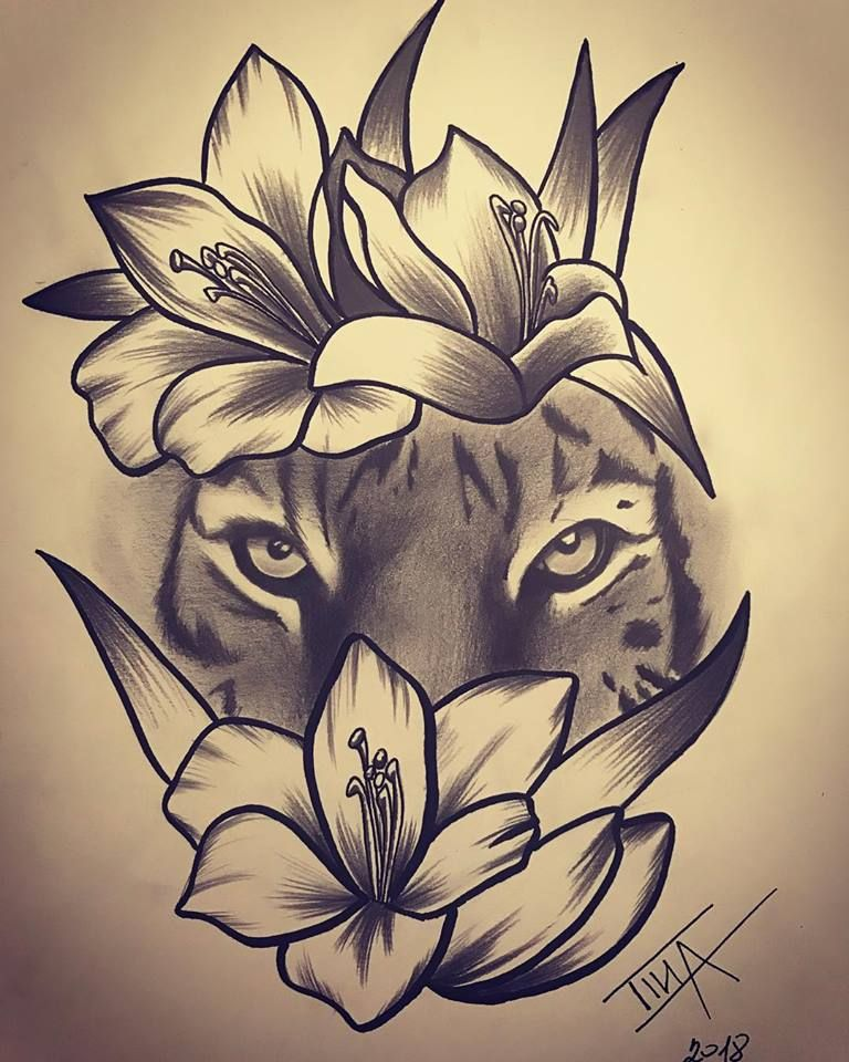 Tiger And Flowers Drawing Tiger Flowers Tigerandflowers