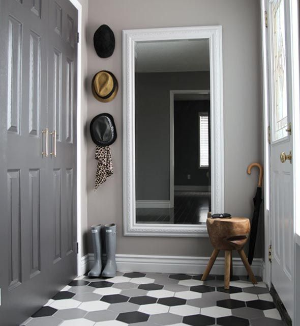 50 shades of grey make this foyer a great design feature.
