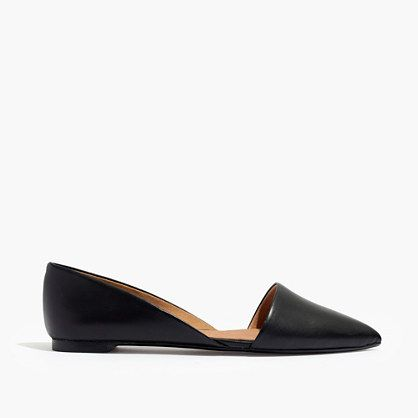"Sleek and sexy, these pointy-toe d'Orsay flats come in smooth black leather. Geometric and cool, these are slip-on shoes that can really go the distance. When you select your size, ""H"" equals a half size. <ul><li>Leather upper and lining.</li><li>Man-made sole.</li><li>Import.</li></ul>"
