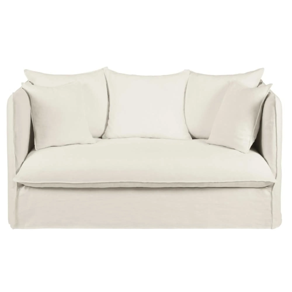 Ausziehbares 2 Sitzer Sofa Mit Bezug Aus Weissem Gewaschenem Leinen In 2020 Sofa 2 Sitzer Sofa Und Kleines Sofa