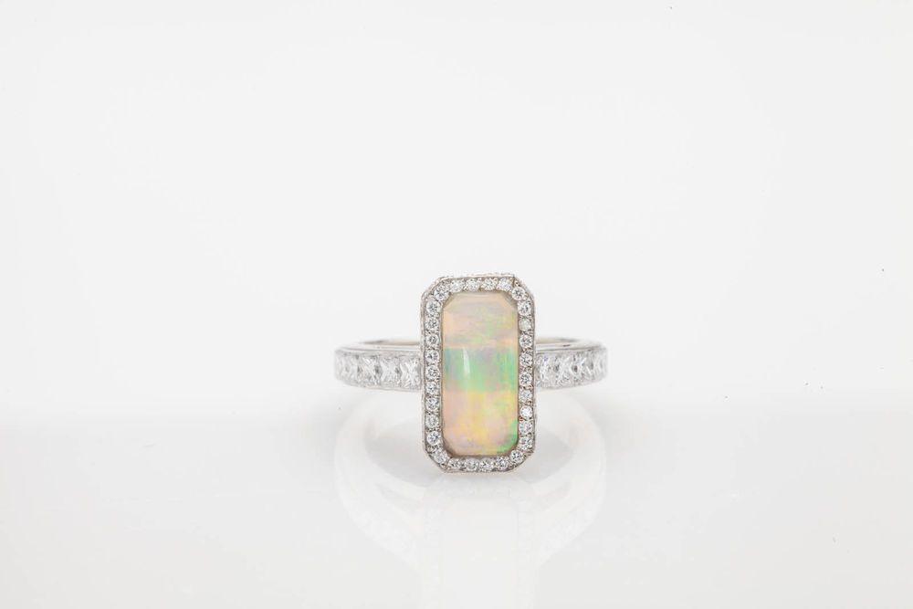 Estate $7000 6ct Natural AAA+++ OPAL VS D Diamond 18k White Gold Ring DESIGNER in Diamond | eBay
