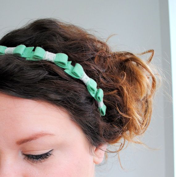 Mint Green Bow Crown Headband - Felt Bows - Pastel Crown Headband - Statement Hair Accessory on Etsy, $15.00