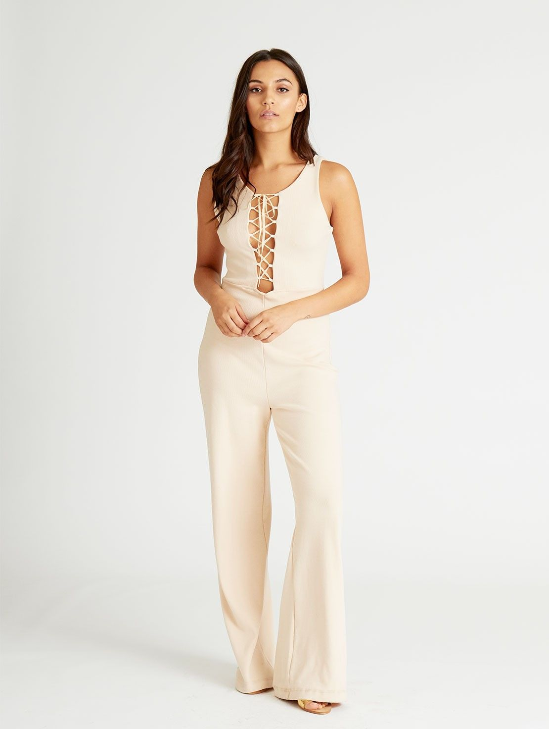 d75d8d886c Cali Cream Lace up Jumpsuit