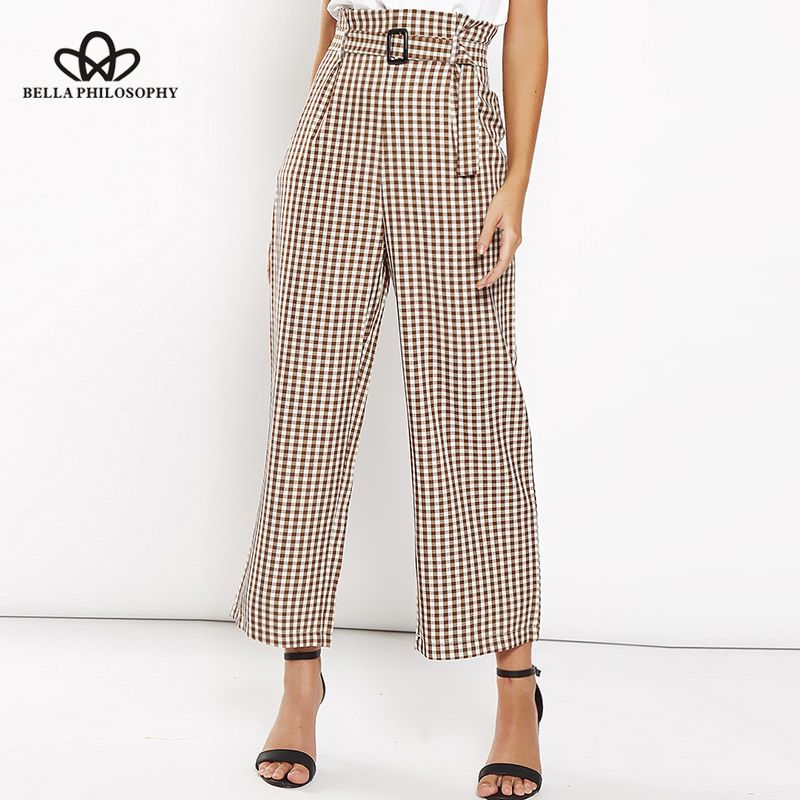 8997ce9766399 Cotton plaid print high waist wide leg pant casual women pants sashes  pleated ankle length trousers