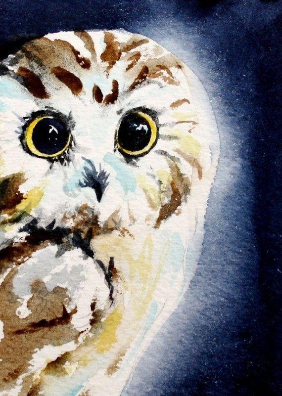 Who Me owl ACEO fine art print от christydekoning на Etsy