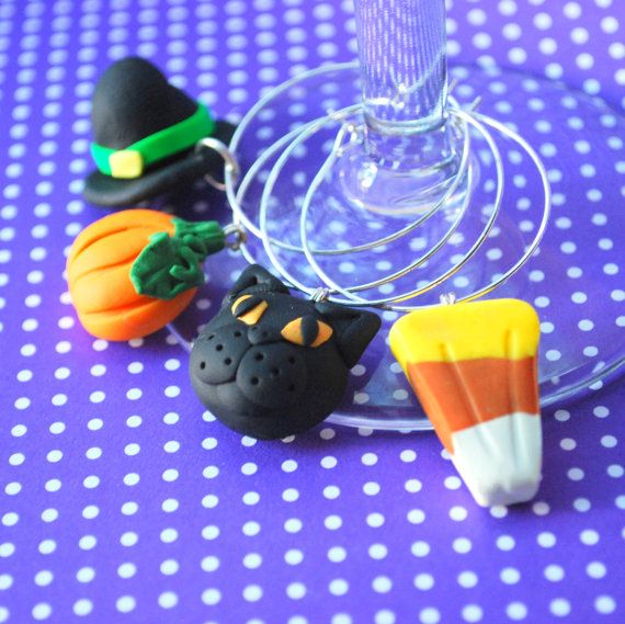 4 Halloween Wine Charms. Halloween Party. Wine by ericaschmerica, $24.00