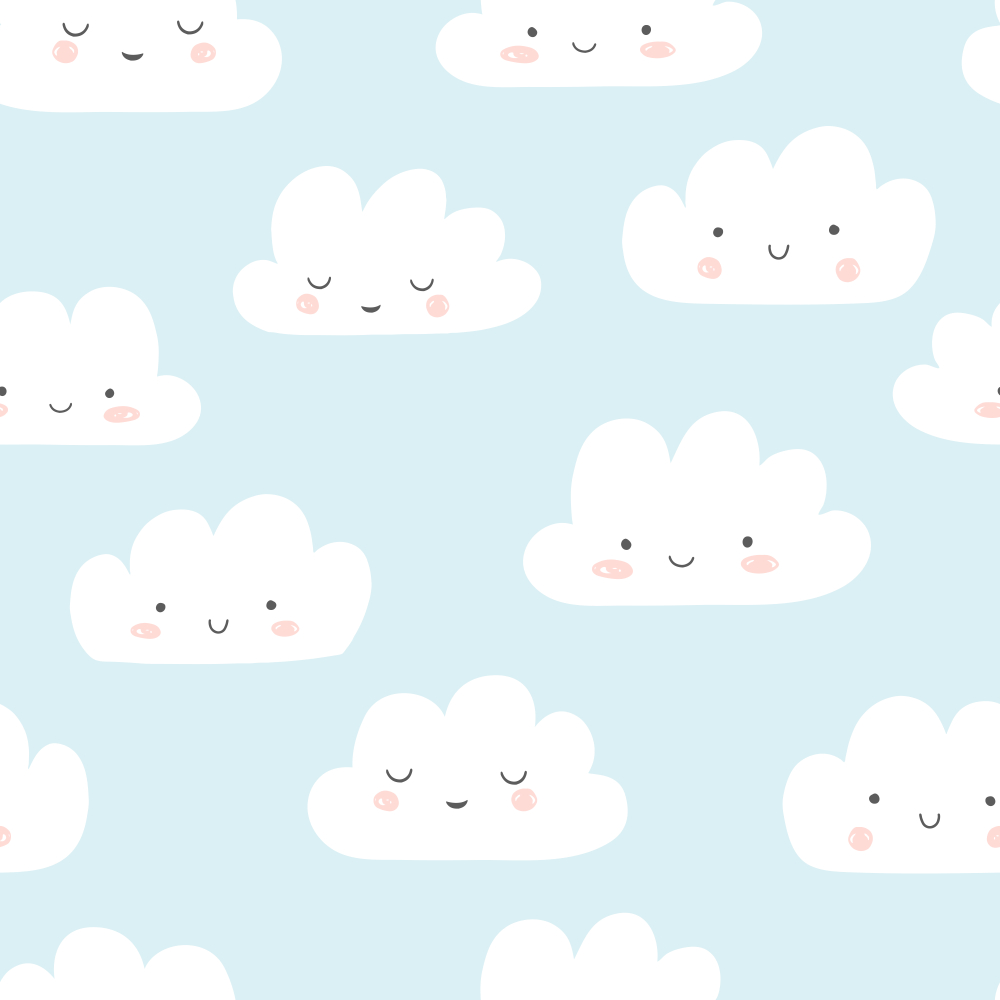 Smiling Clouds Vector Pattern Cute Sky Cloud Vector Vector Pattern Clouds Pattern