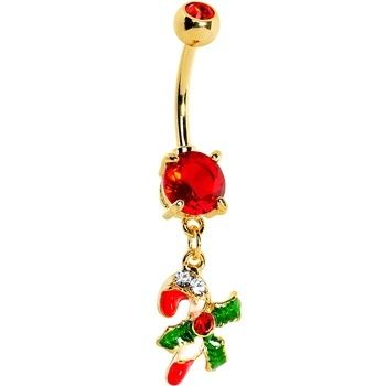 Adorable Red And White Candy Cane Mistletoe Holly Navel Piercing