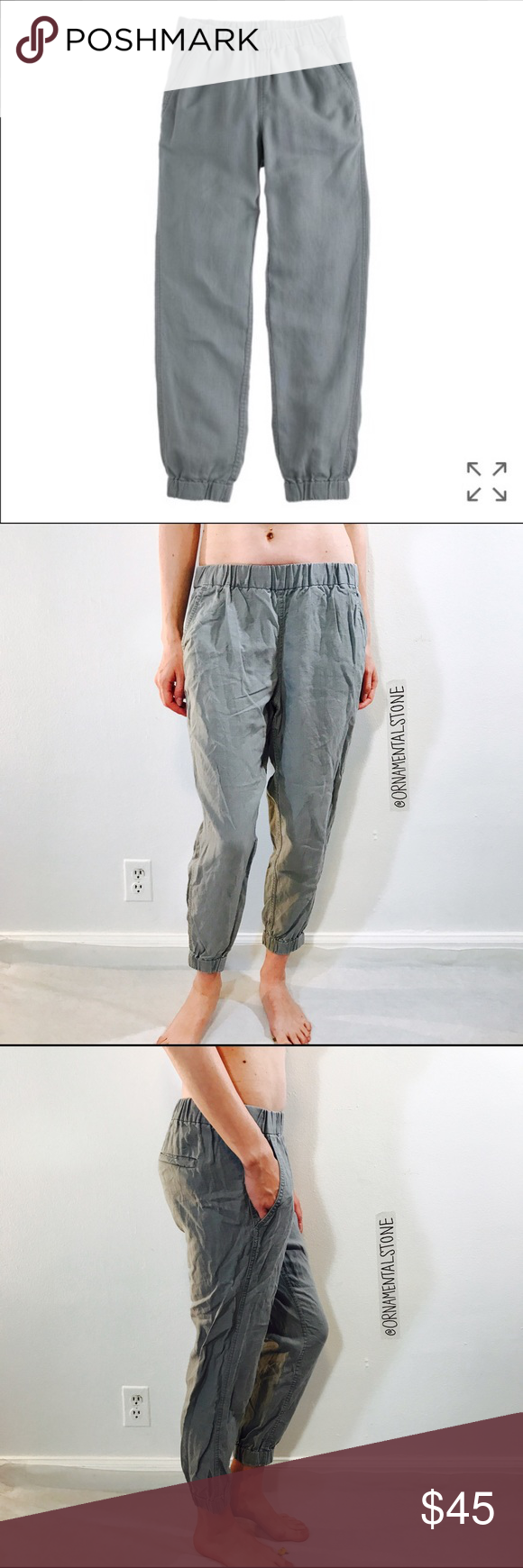 """J. CREW SEASIDE JOGGER STYLE PANT FISHERMANS GRAY EUC, no issues. Sits lower on hip. Easy through hip and thigh with a straight leg. 25 1/2"""" inseam. Your favorite laid-back style from last summer, now in an authentic ikat print from Bhoodan Pochampally, where local artisans create prints for Indian royalty, Bollywood stars-and now us.  Cotton. Elastic waist. Cuffed. Machine wash. Import. J. Crew Pants"""