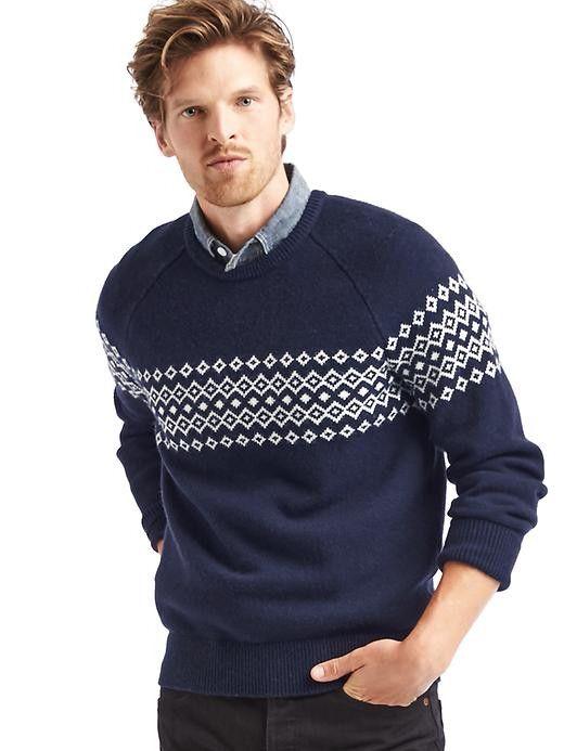 3c52b63e00f033 Gap men's Navy Sweater Merino wool blend fair isle crew sweater   My ...