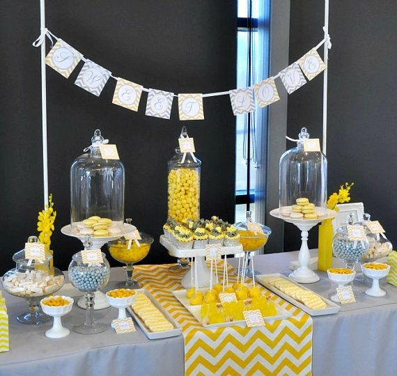 Bridal shower decor package yellow gray chevron for Baby shower decoration packages