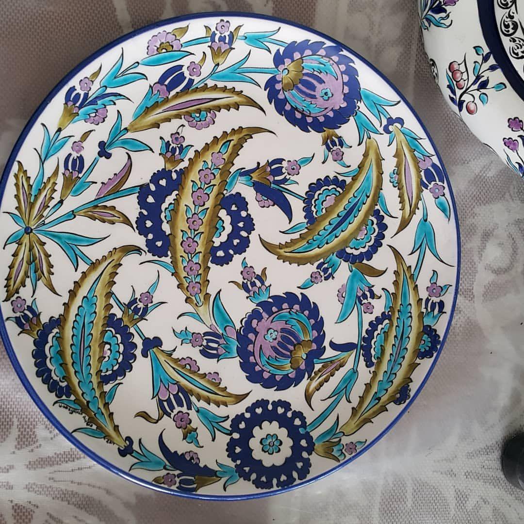 30 Cm Cini Tabak Cini Firca Boya Desen Klasic Tabak Artdecor Artdesinger Artgallery Kunst Ottoman Culture Cam Turkish Art Turkish Ceramics Plates