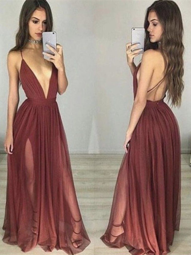 Custom made sexy maroonburgundy v neck prom dresses bridesmaid sexy maroon prom dress deep v neck long ruched backlessbackless dresslow cut dresslong prom dress ombrellifo Images