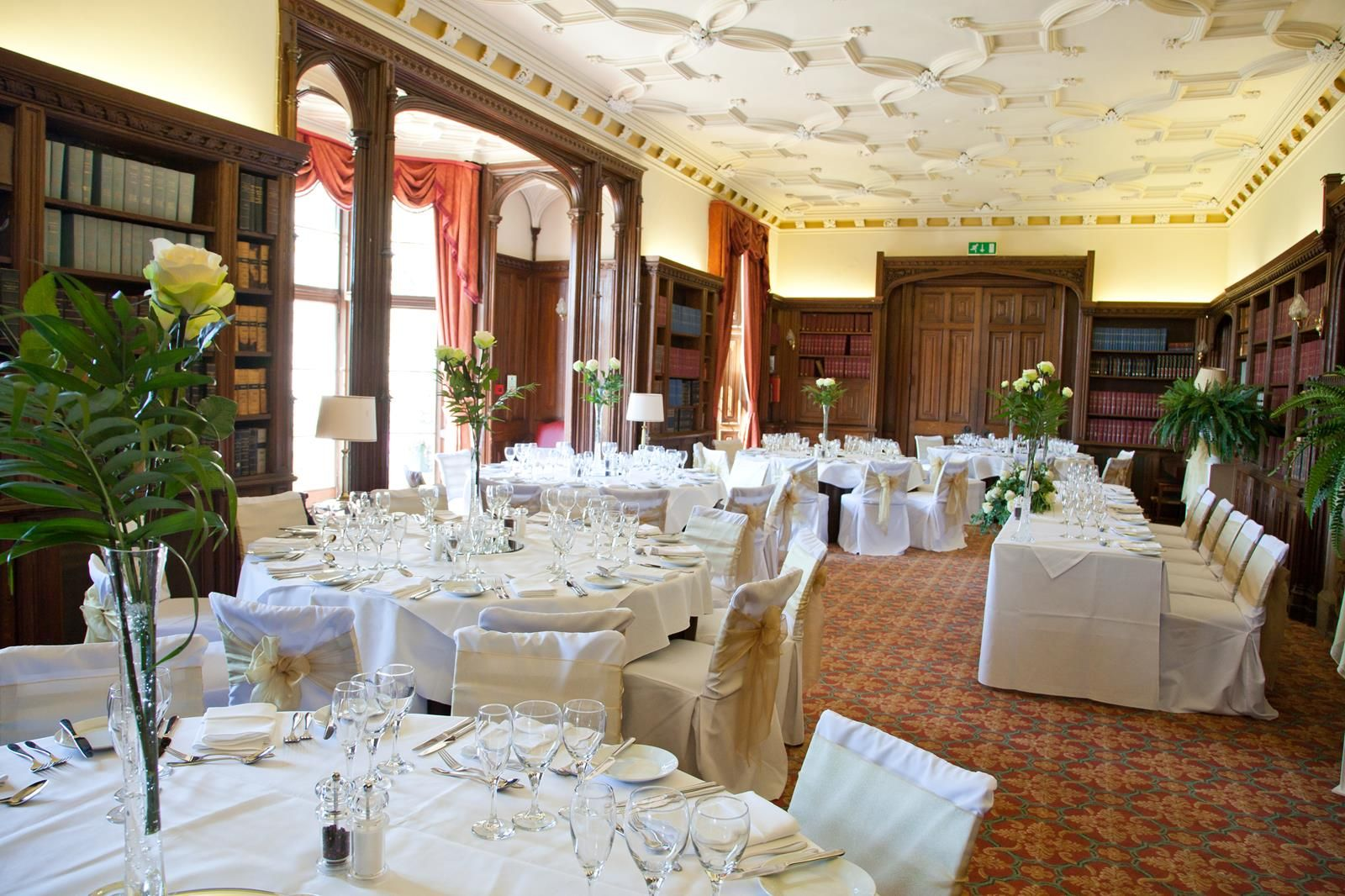 Small Intimate Wedding Breakfast In The Library At Latimer House Buckinghamshire Venue