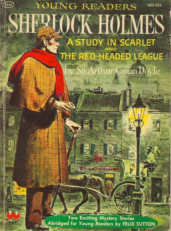 VINTAGE KIDS BOOK Young Readers Sherlock Holmes A Study in Scarlet and The Red-Headed League – Conan Doyle, Felix Sutton, H. B. Vestal