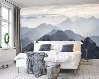 Misty Mountain Wallpaper Foggy Mountain Silhouette Wall Mural ...