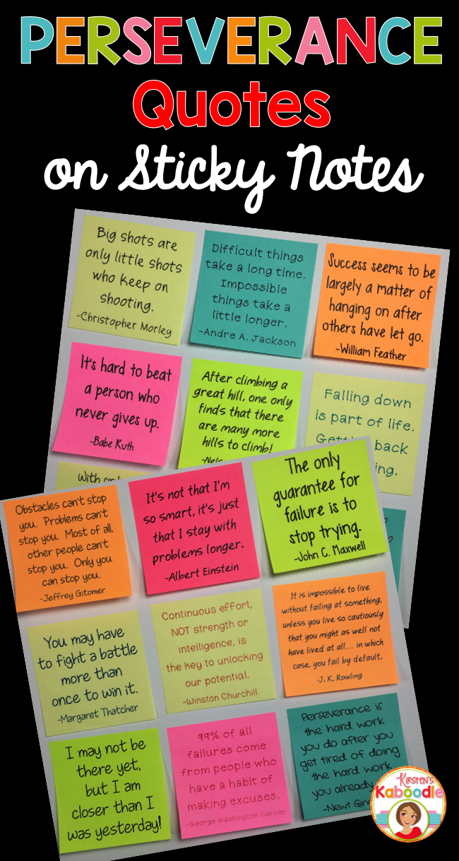 Perseverance Quotes on Sticky Notes | Perseverance quotes ...