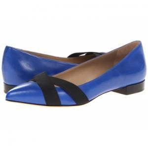 Michael Kors Collection - Leather Pointed Flat Shoes Jamelia Royal Blue - $111.99 (55% off)
