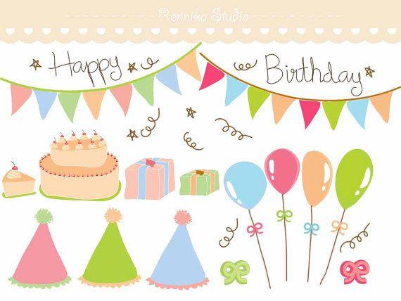 Birthday Party Decoration Clip Art EPS file by RennikaStudio 400